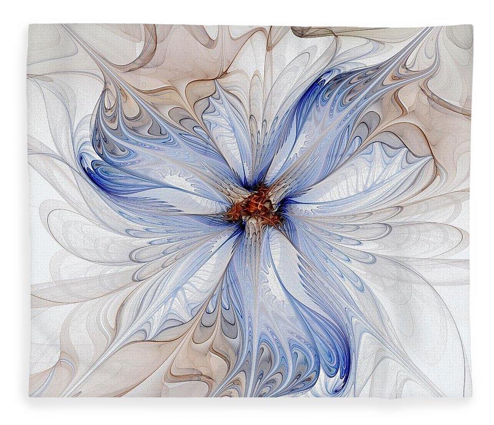 Digital Art Fleece Blanket featuring the digital art Cornflower blues by Amanda Moore