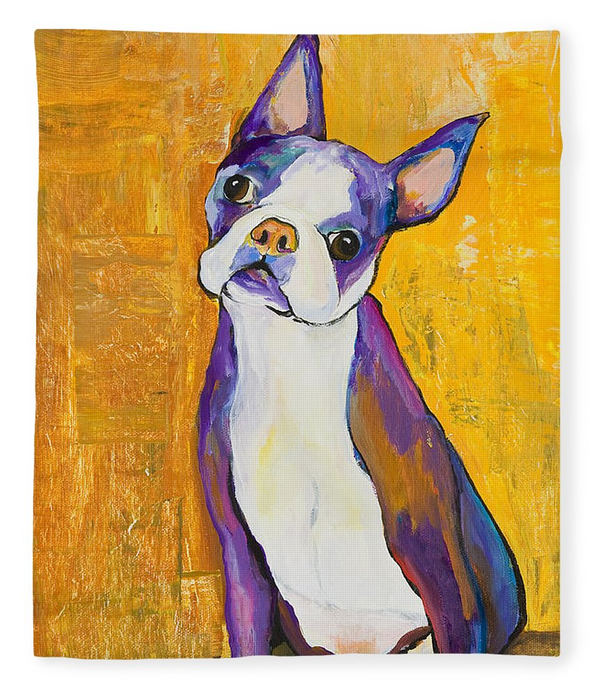 Boston Terrier Animals Acrylic Dog Portraits Pet Portraits Animal Portraits Pat Saunders-white Fleece Blanket featuring the painting Cosmo by Pat Saunders-White