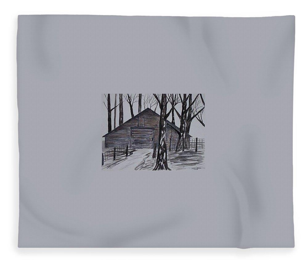 Watercolor Landscape Painting Barn Pen And Ink Drawing Print Original Fleece Blanket featuring the painting COUNTRY BARN pen and ink drawing print by Derek Mccrea