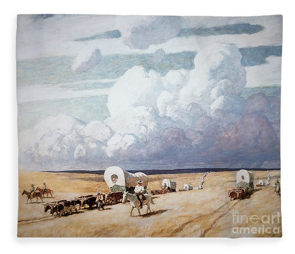 American; Landscape; Wagon; Convoy; Journey; Settler; Settlers; Traveller; Travellers; Migrant; Migrants; Horse; Cattle; Great Plains; C19th; C20th; Trail; Pioneer; Pioneers; C19th; C20th; Wagon Train; Frontier; Prairie; Migration; Caravan; Wild West; Western; Midwest; Westward Expansion; Arid; Flat Fleece Blanket featuring the painting Covered Wagons Heading West by Newell Convers Wyeth
