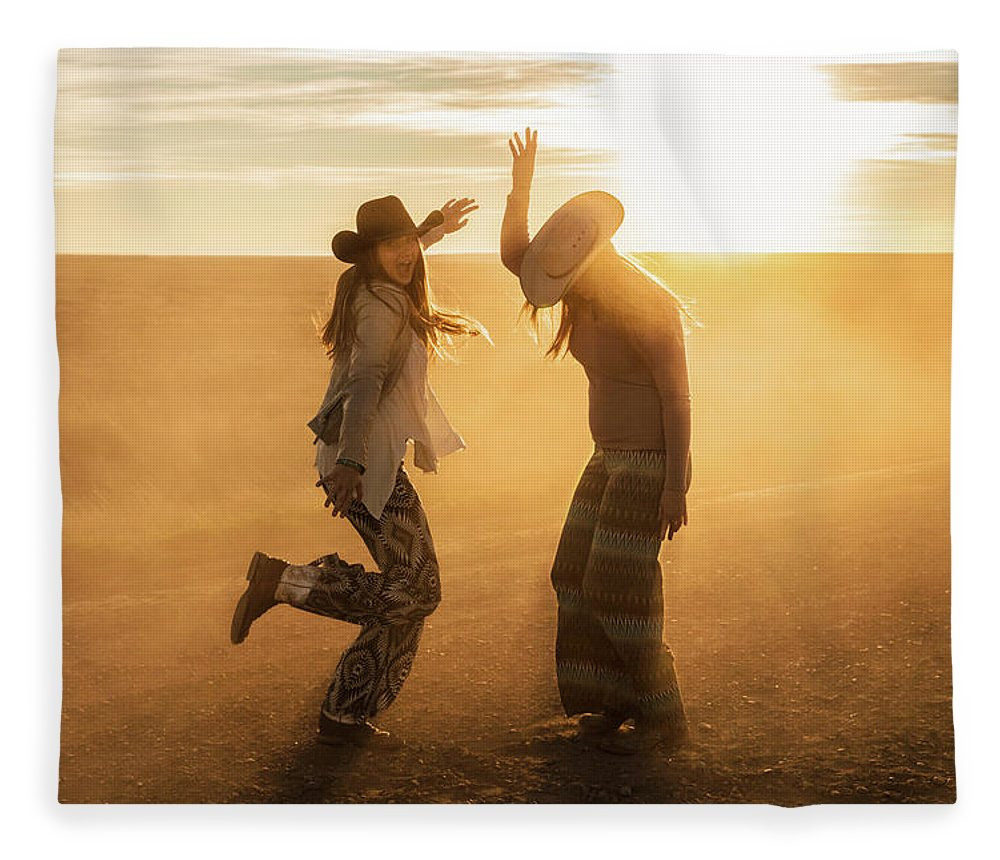 Cowgirls Fleece Blanket featuring the photograph Cowgirl Dance by Todd Klassy