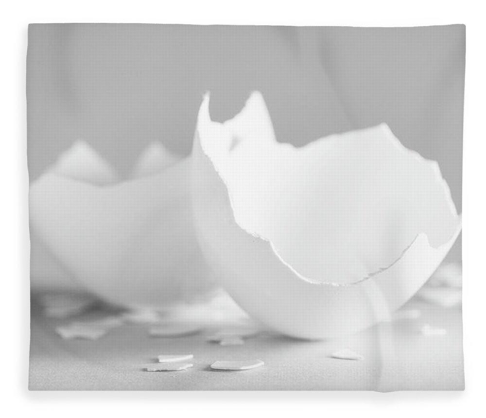Cracked Egg Shell On Grey Fleece Blanket featuring the photograph Cracked Egg Shell On Soft Grey by Iris Richardson
