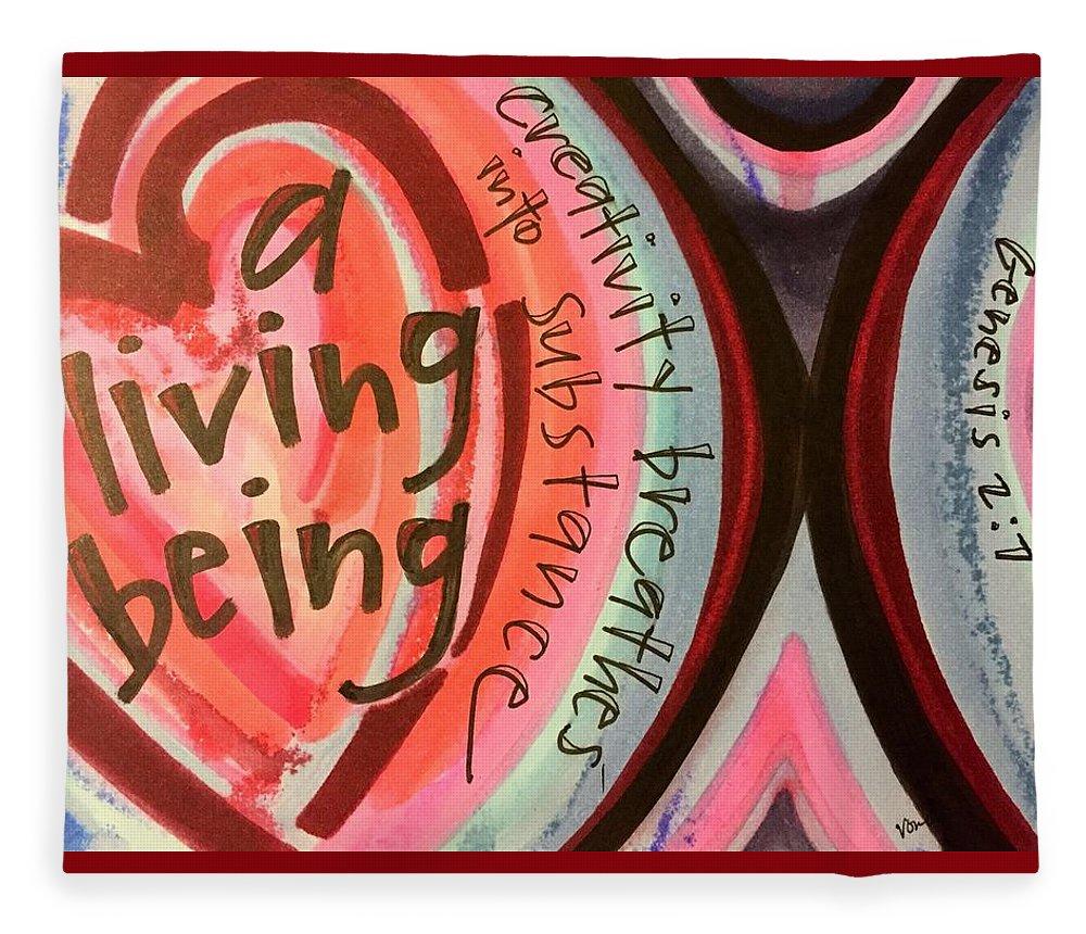 Creativity Fleece Blanket featuring the painting Creativity Breathes by Vonda Drees