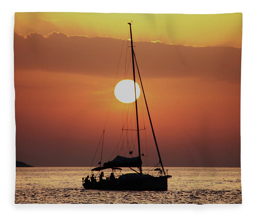 Croatia Fleece Blanket featuring the photograph Croatian Sunset by Deborah Brodie