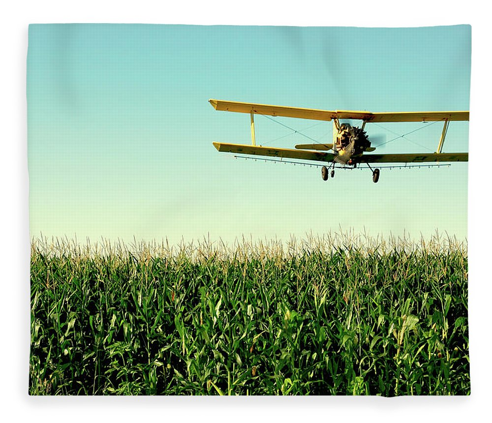 Crop Duster Fleece Blanket featuring the photograph Crops Dusted by Todd Klassy