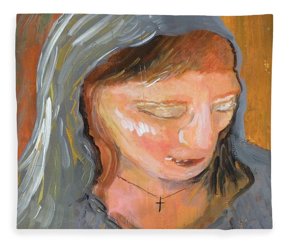 Angel Fleece Blanket featuring the painting Cross for Maria by J Bauer