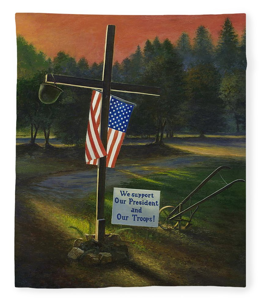 Cross Fleece Blanket featuring the painting Cross Of Remembrance by Randy Welborn