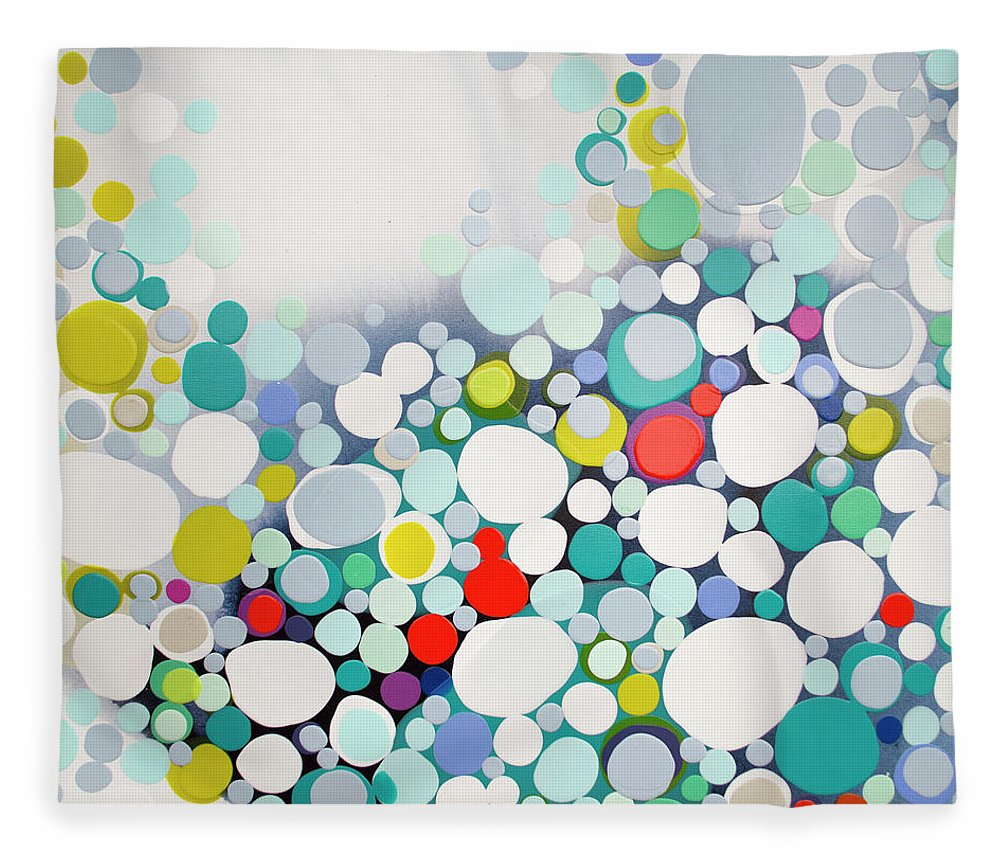 Abstract Fleece Blanket featuring the painting Cross The Line by Claire Desjardins
