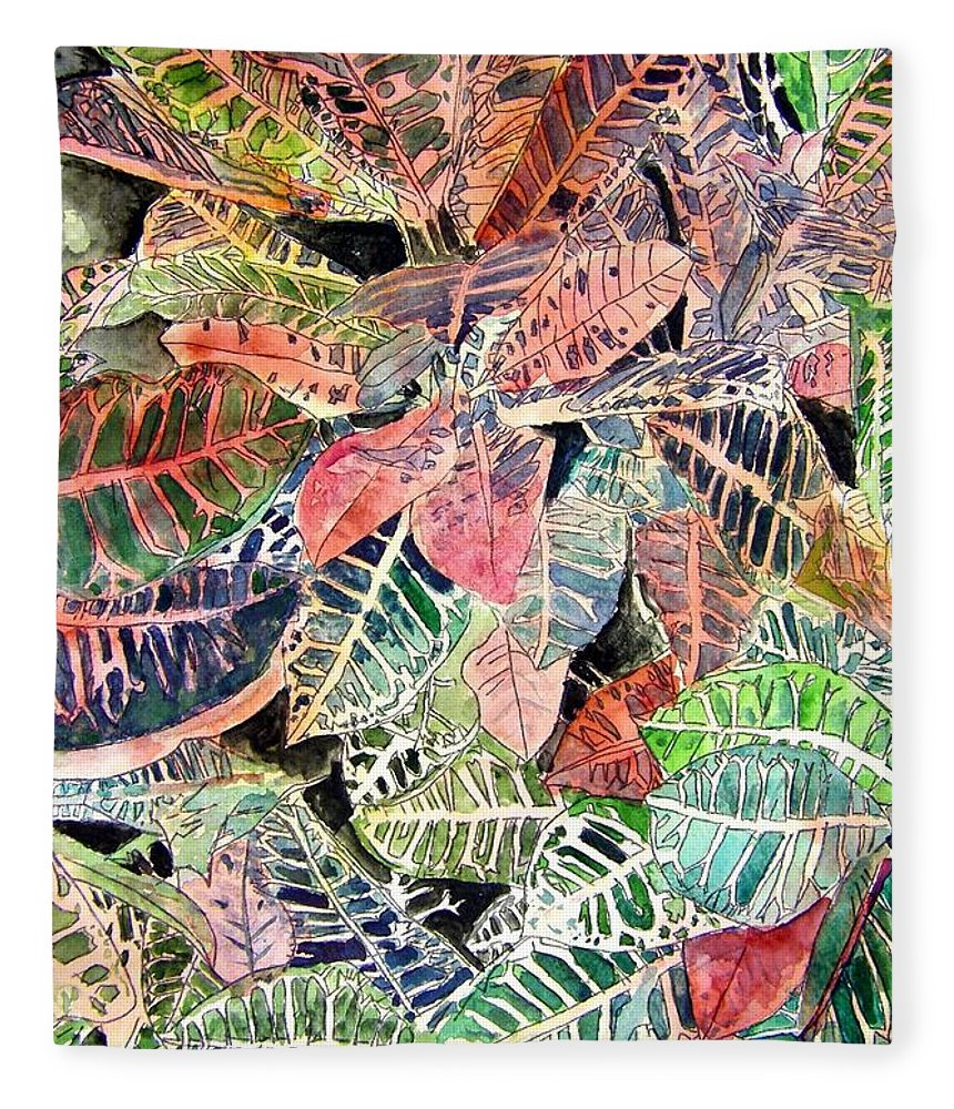 Croton Fleece Blanket featuring the painting Croton Tropical Art Print by Derek Mccrea