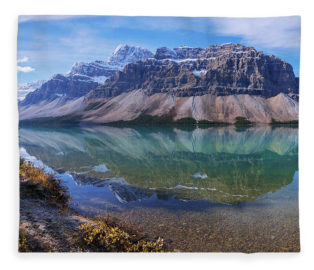 Crowfoot Reflection Fleece Blanket featuring the photograph Crowfoot Reflection by Chad Dutson