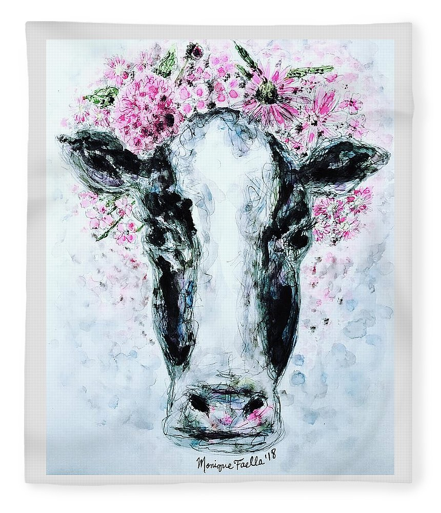 Cow Fleece Blanket featuring the painting Crown Of Flowers Cow by Monique Faella