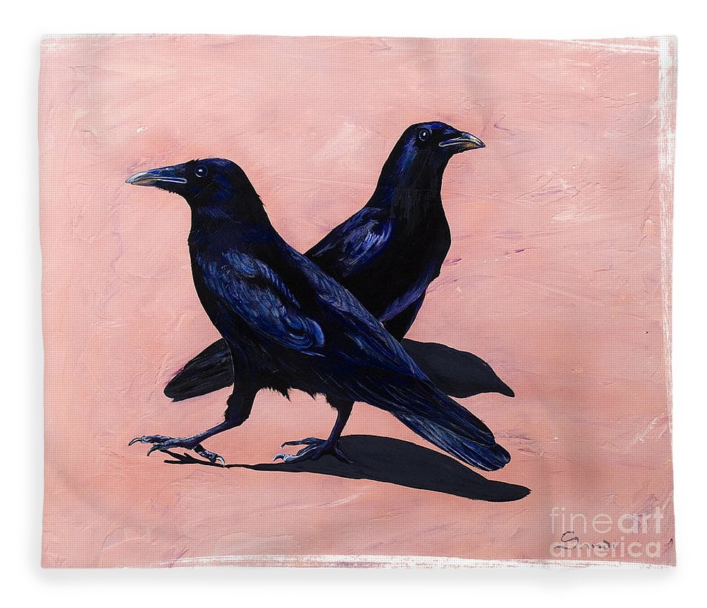 Crows Fleece Blanket featuring the painting Crows by Sandi Baker