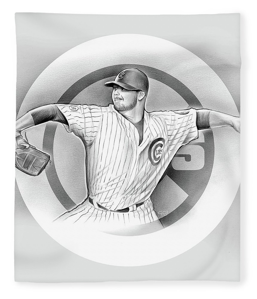 2016 Fleece Blanket featuring the drawing Cubs 2016 by Greg Joens