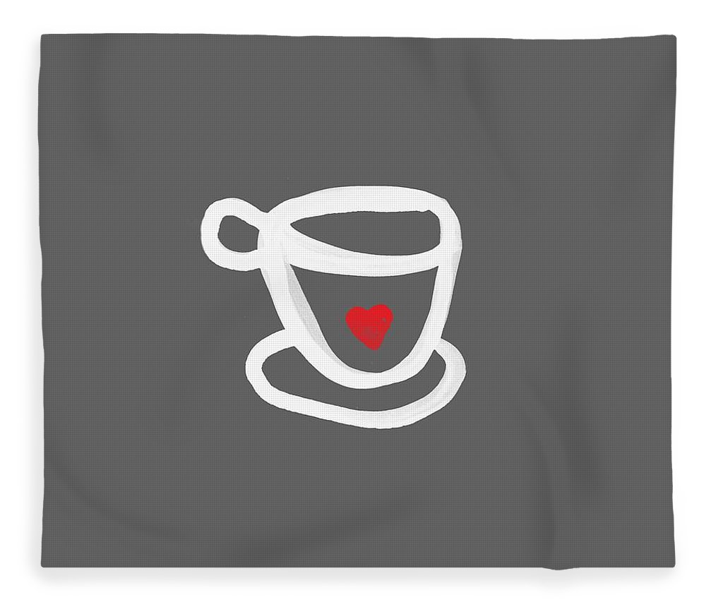 Coffee Fleece Blanket featuring the painting Cup of Love- Shirt by Linda Woods