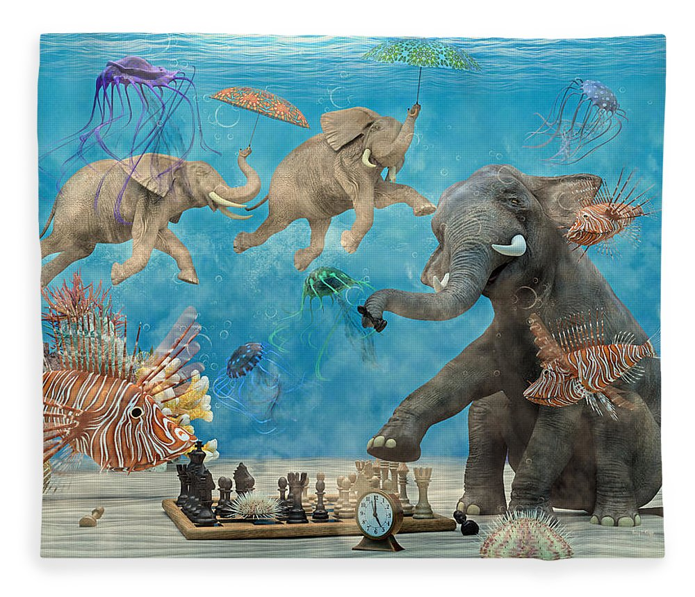 Fantasy Fleece Blanket featuring the digital art Curious Ocean by Betsy Knapp