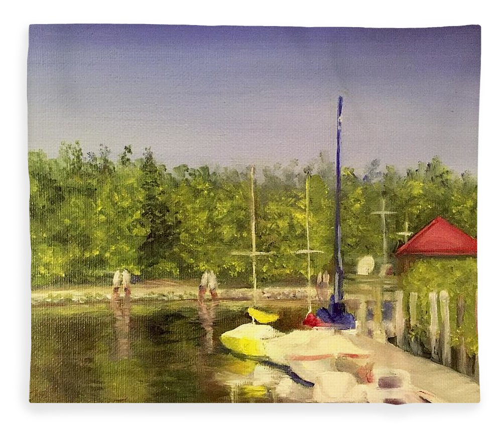 Sailboats Fleece Blanket featuring the painting Curtin's Marina II by Sheila Mashaw