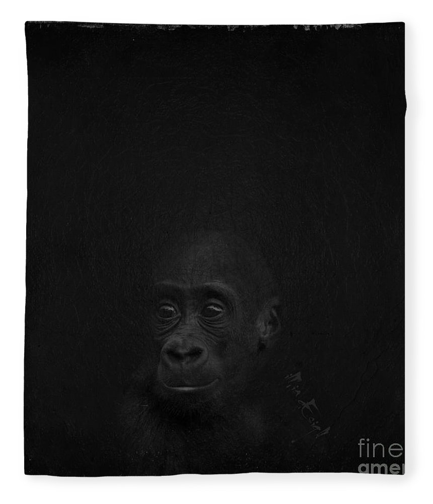 Imia Design Fleece Blanket featuring the digital art Cute Gorilla Baby by Maria Astedt
