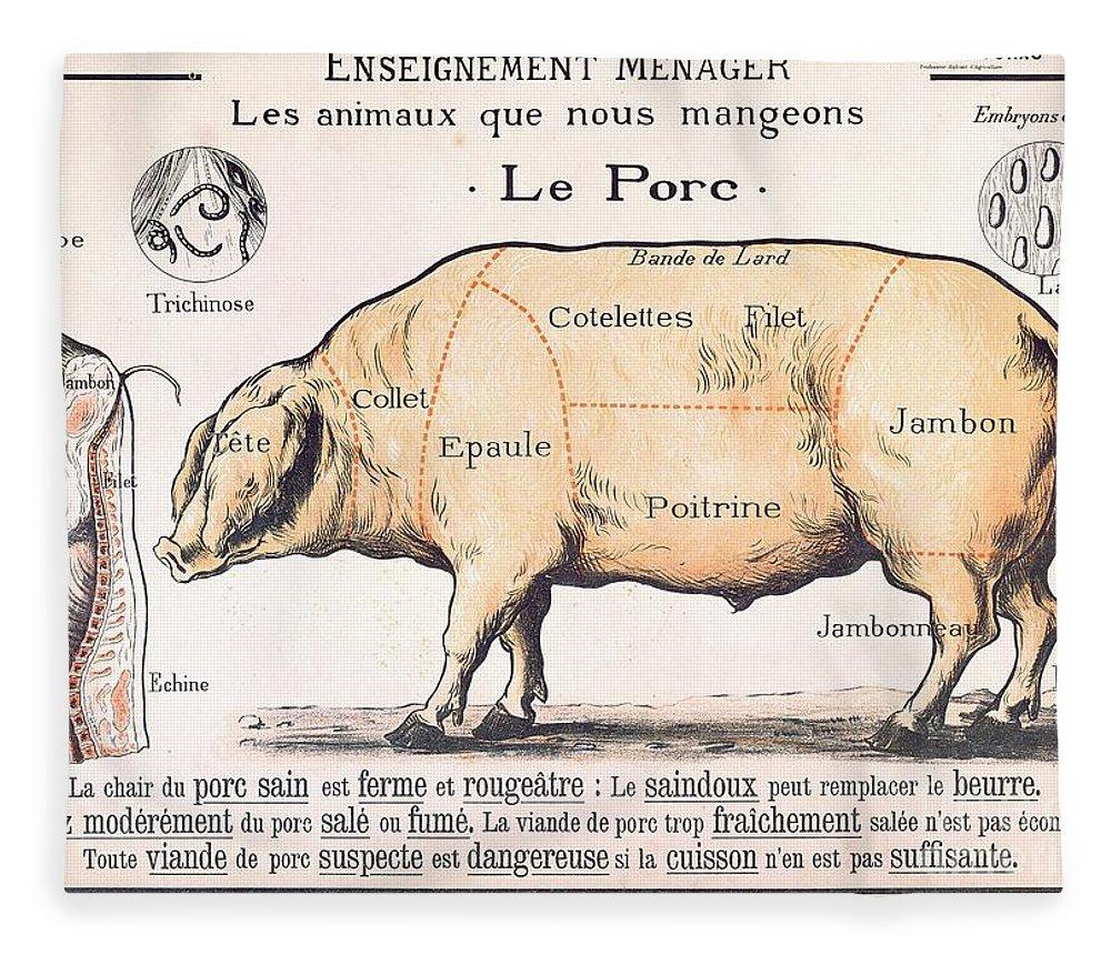 Pig Butcher Diagram Cross Section Schematic Diagrams Deer Cuts Of Pork Fleece Blanket For Sale By French School Butchering Eatingfarm