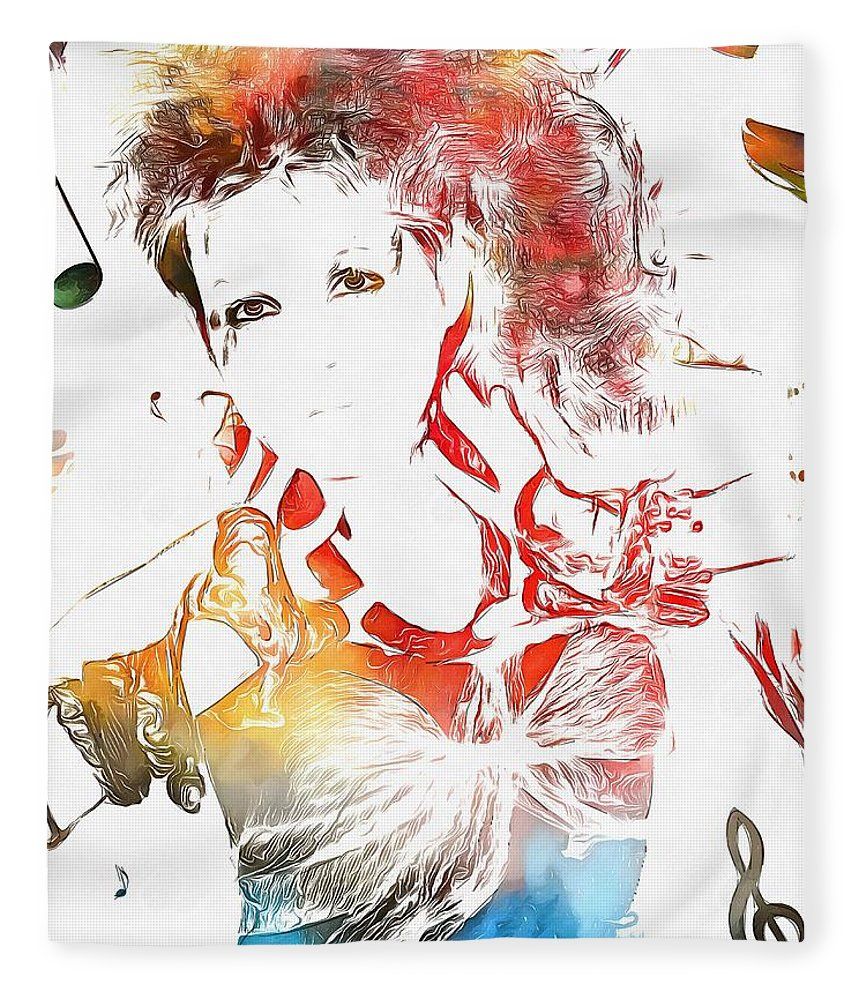 Cyndi Lauper Watercolor Fleece Blanket featuring the painting Cyndi Lauper Watercolor by Dan Sproul