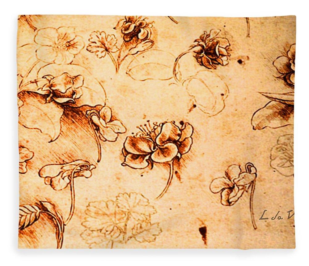 Da Vinci Flower Study Gold By Da Vinci Fleece Blanket for Sale by ...