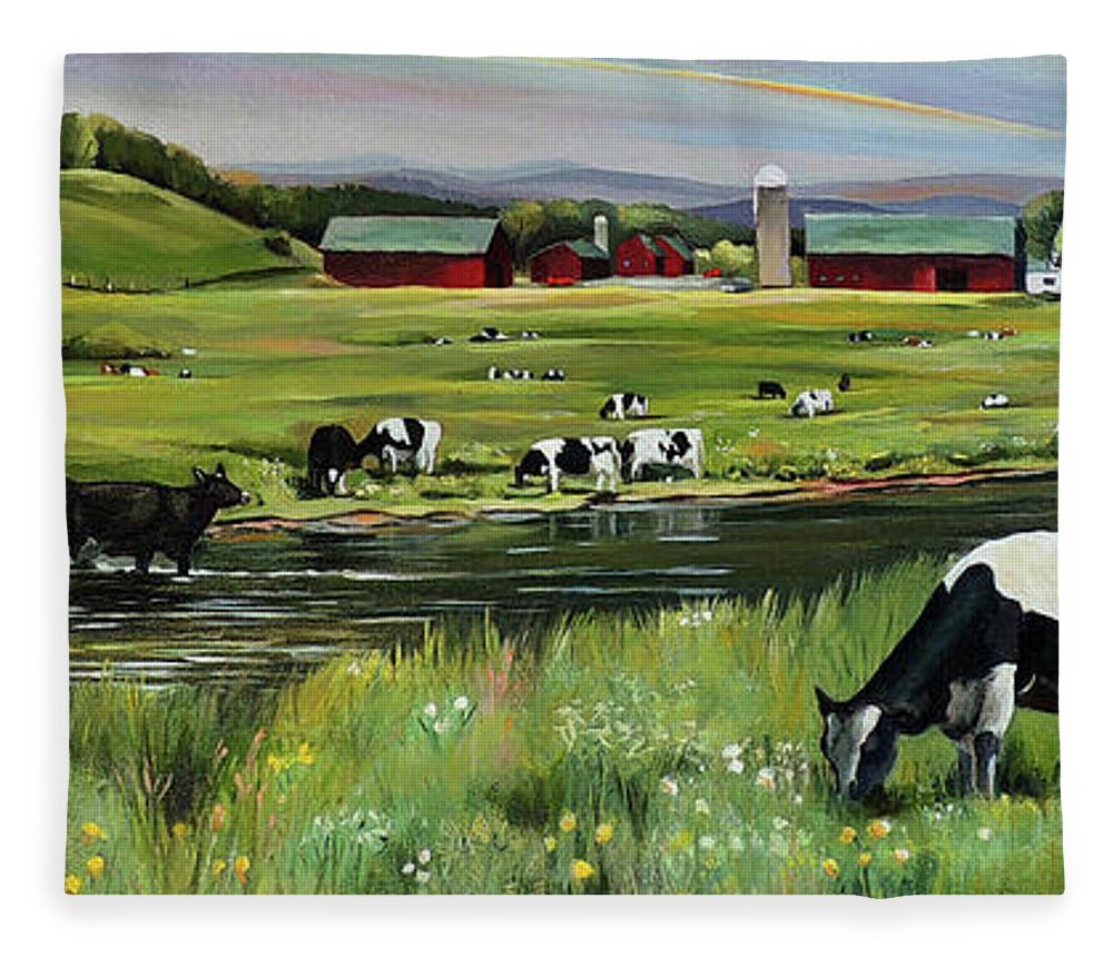 Landscape Fleece Blanket featuring the painting Dairy Farm Dream by Nancy Griswold