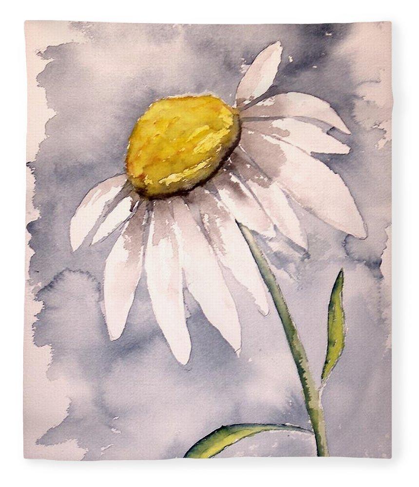 Daisy Fleece Blanket featuring the painting Daisy Modern poster print fine art by Derek Mccrea