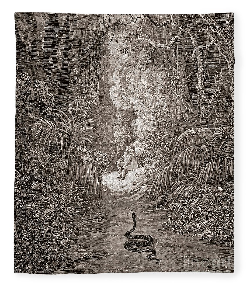 Adam And Eve Fleece Blanket featuring the drawing Adam And Eve  Illustration From Paradise Lost By John Milton by Gustave Dore