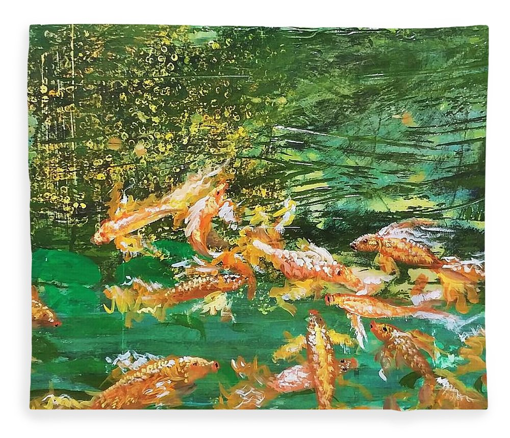 Gold Fish Fleece Blanket featuring the painting Dance of Golden Angels by J Bauer