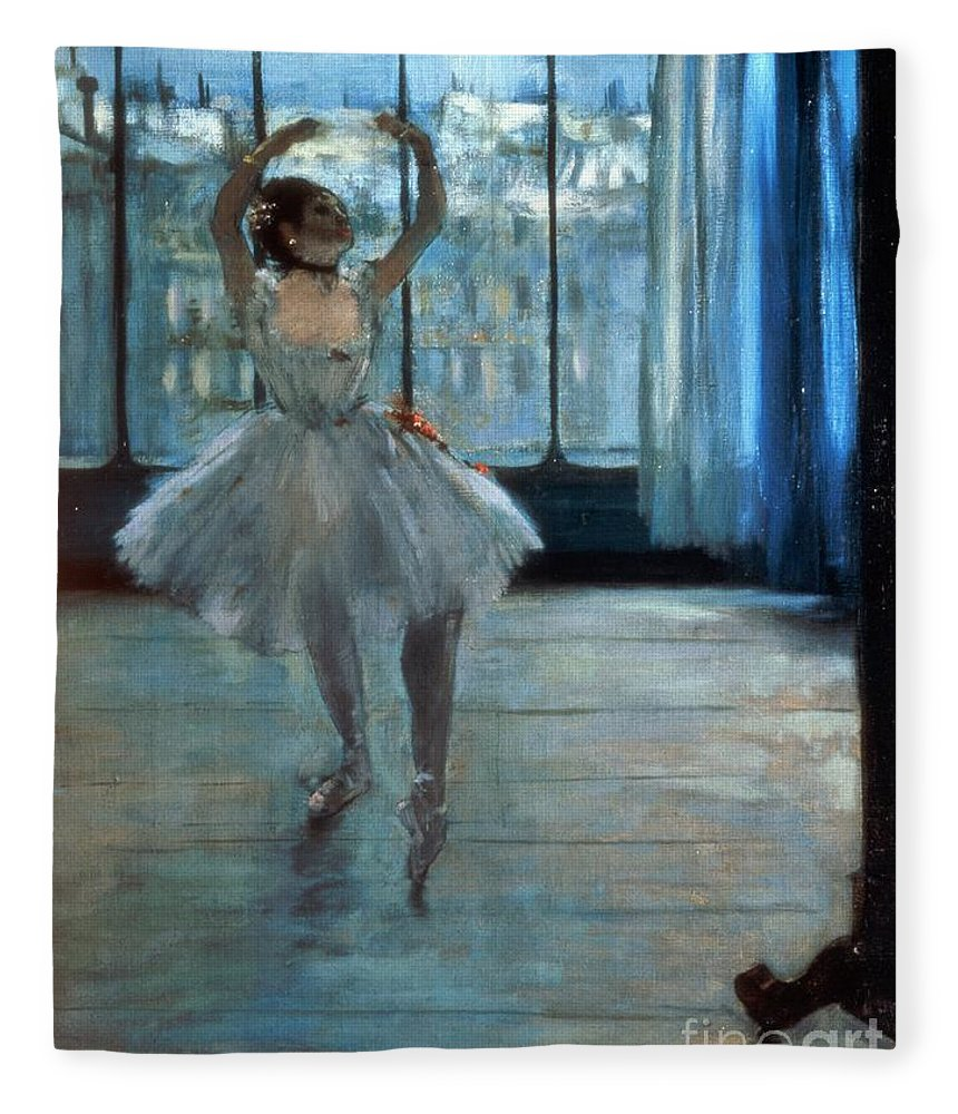 Dancer Fleece Blanket featuring the painting Dancer In Front Of A Window by Edgar Degas
