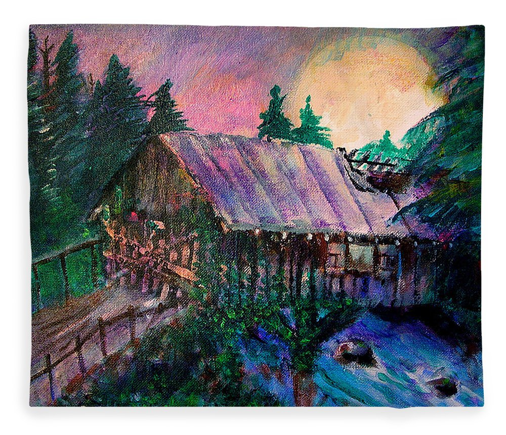 Dangerous Bridge Fleece Blanket featuring the painting Dangerous Bridge by Seth Weaver