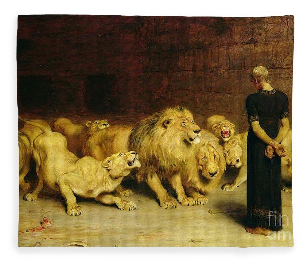 Daniel In The Lions Den Fleece Blanket featuring the painting Daniel in the Lions Den by Briton Riviere