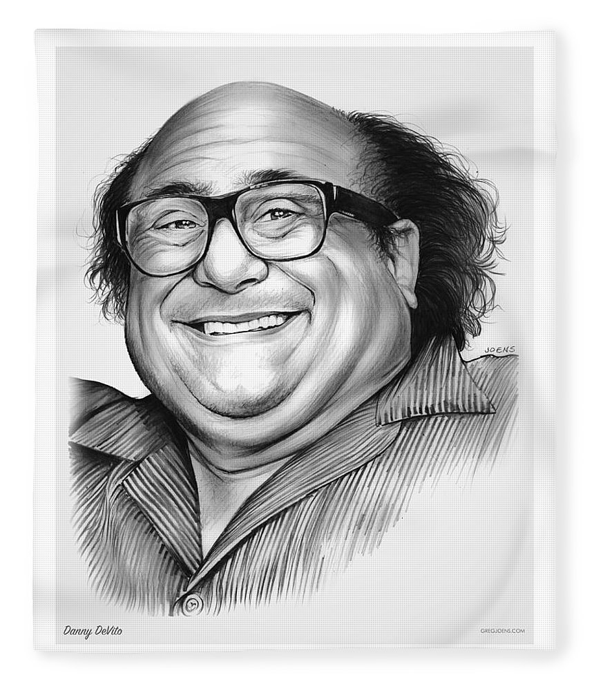 Dannydevito Fleece Blanket featuring the drawing Danny DeVito by Greg Joens
