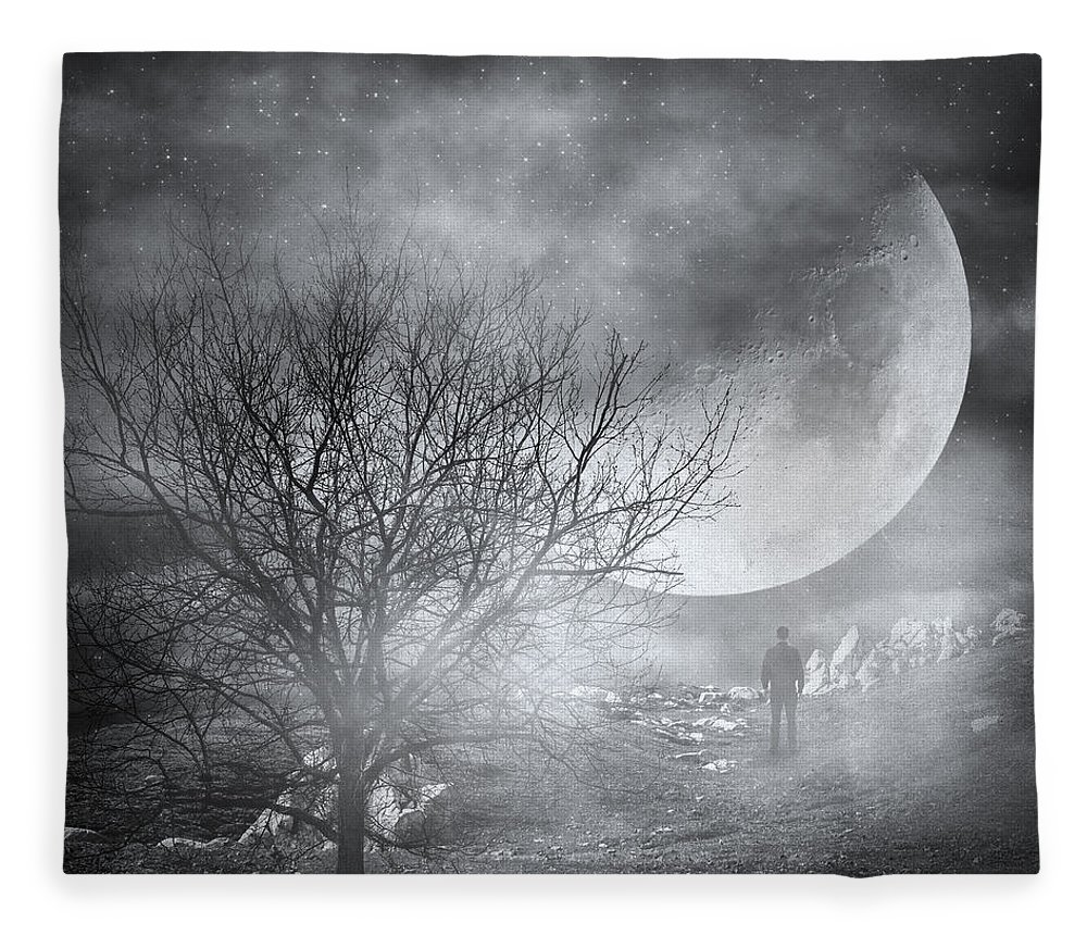 Surreal Fleece Blanket featuring the photograph Dark Night Sky Paradox by Zapista Zapista