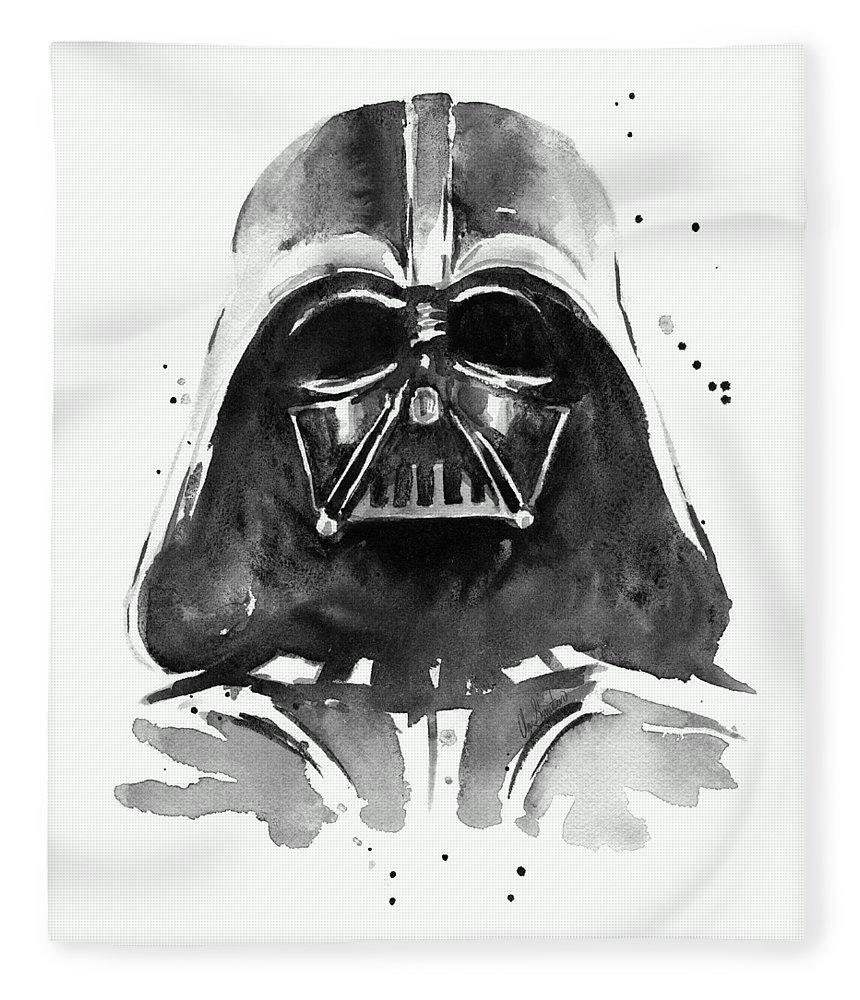 Watercolor Fleece Blanket featuring the painting Darth Vader Watercolor by Olga Shvartsur