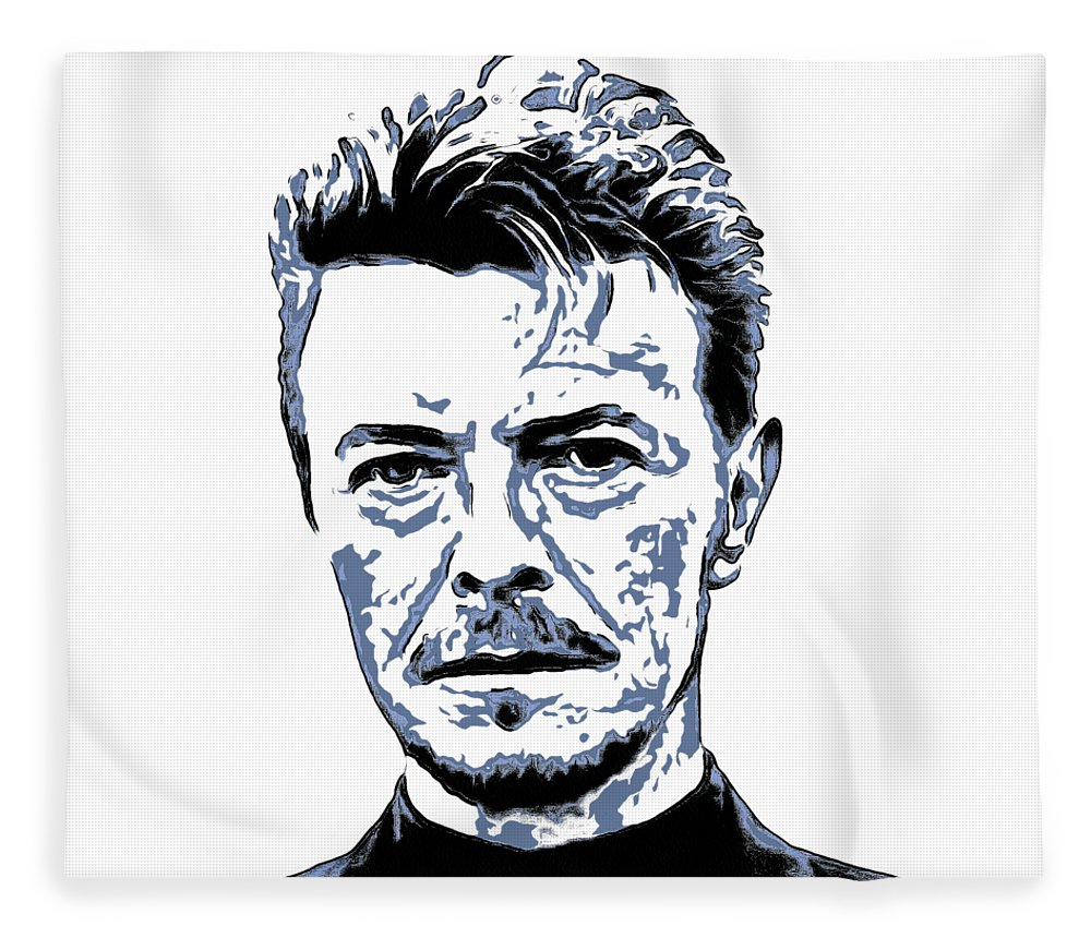 David Bowie Fleece Blanket featuring the painting David Bowie Collection - 5 by Sergey Lukashin