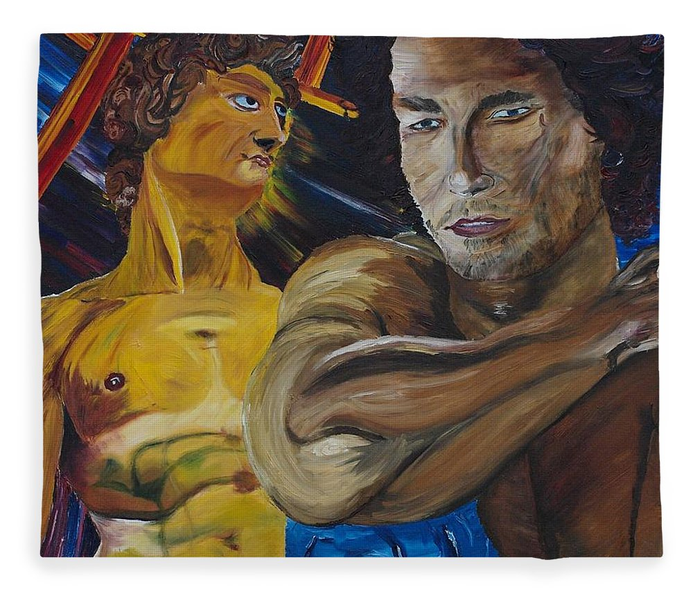 The David Fleece Blanket featuring the painting David v. Hollywood by Modern Impressionism