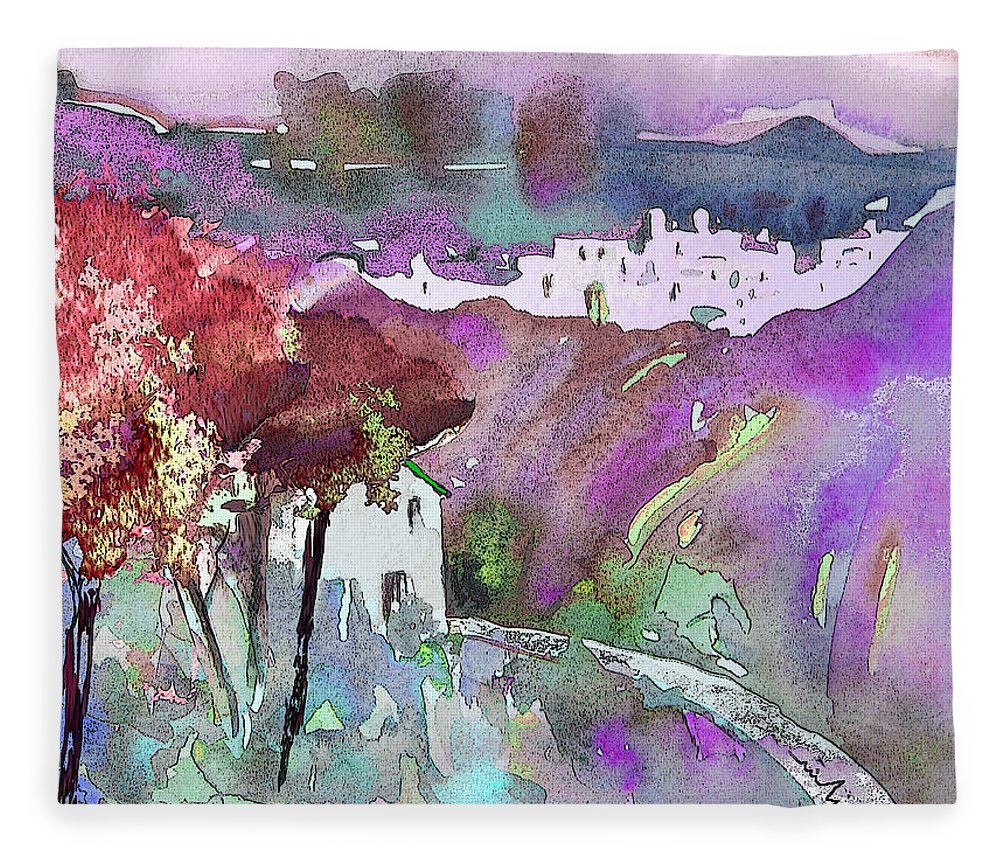 Watercolour Fleece Blanket featuring the painting Dawn 01 by Miki De Goodaboom