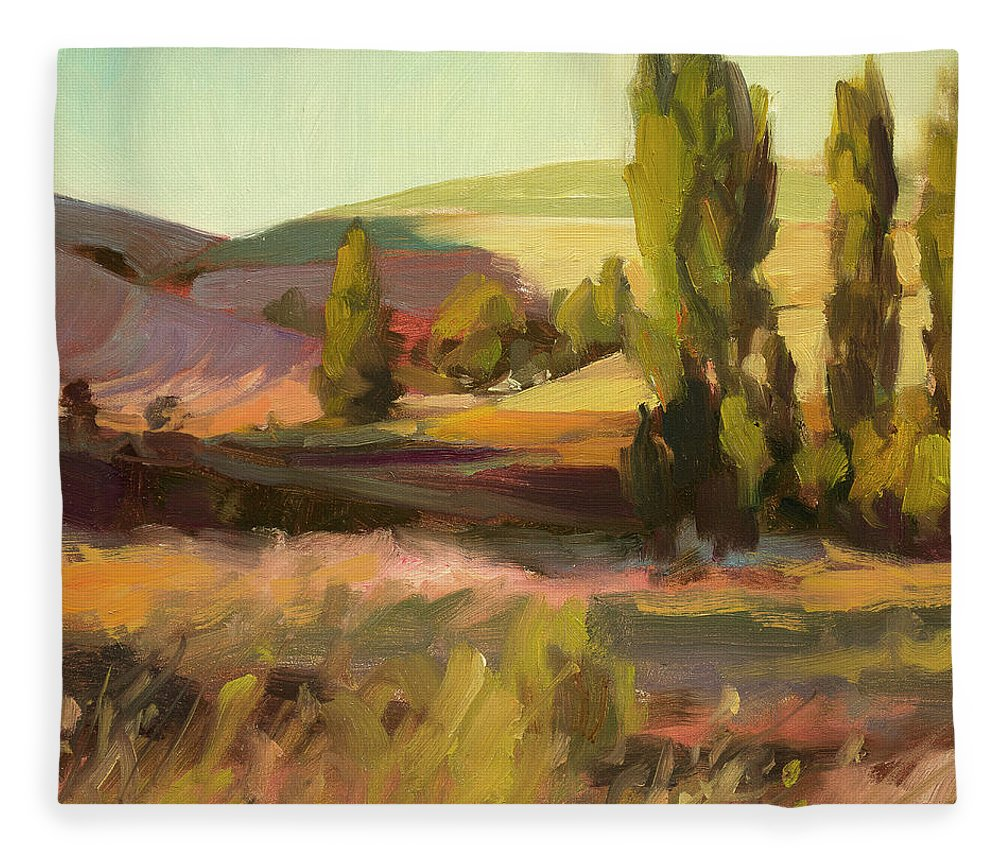Country Fleece Blanket featuring the painting Day Closing by Steve Henderson