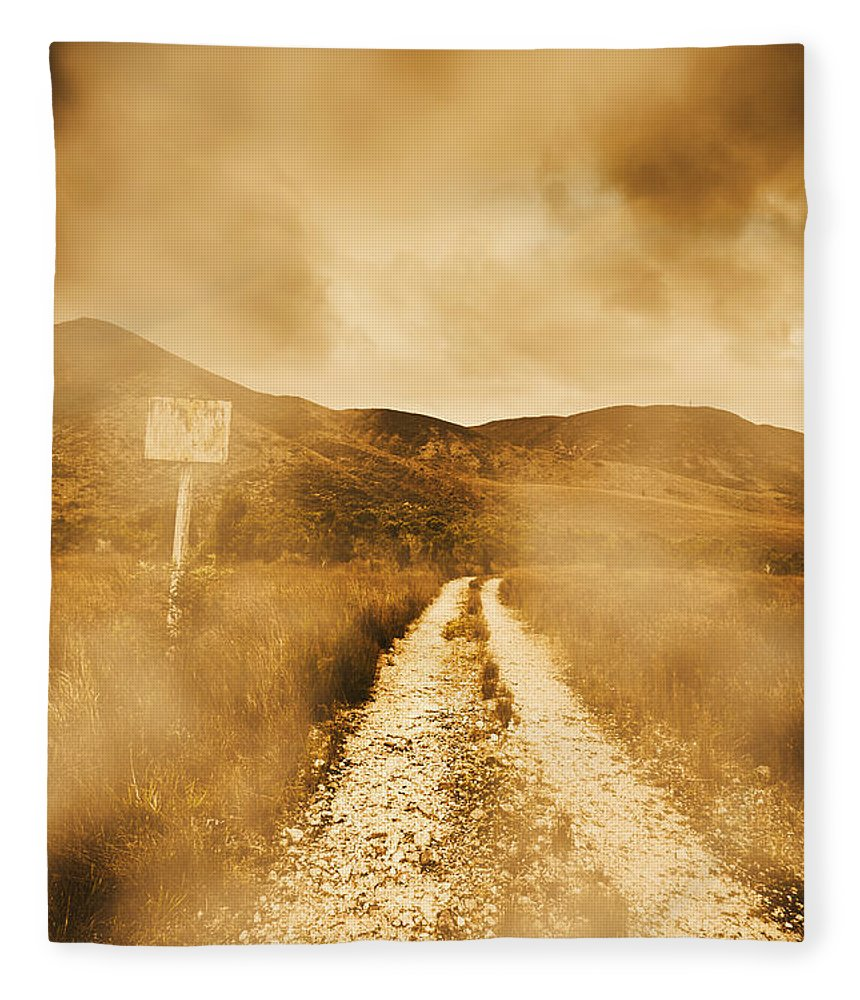 Dirt Fleece Blanket featuring the photograph Dead End Road by Jorgo Photography - Wall Art Gallery