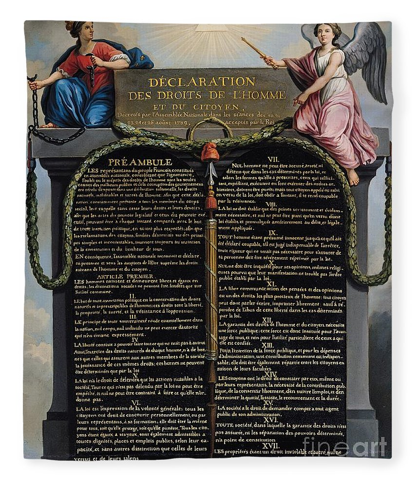 Declaration Fleece Blanket featuring the painting Declaration Of The Rights Of Man And Citizen by French School
