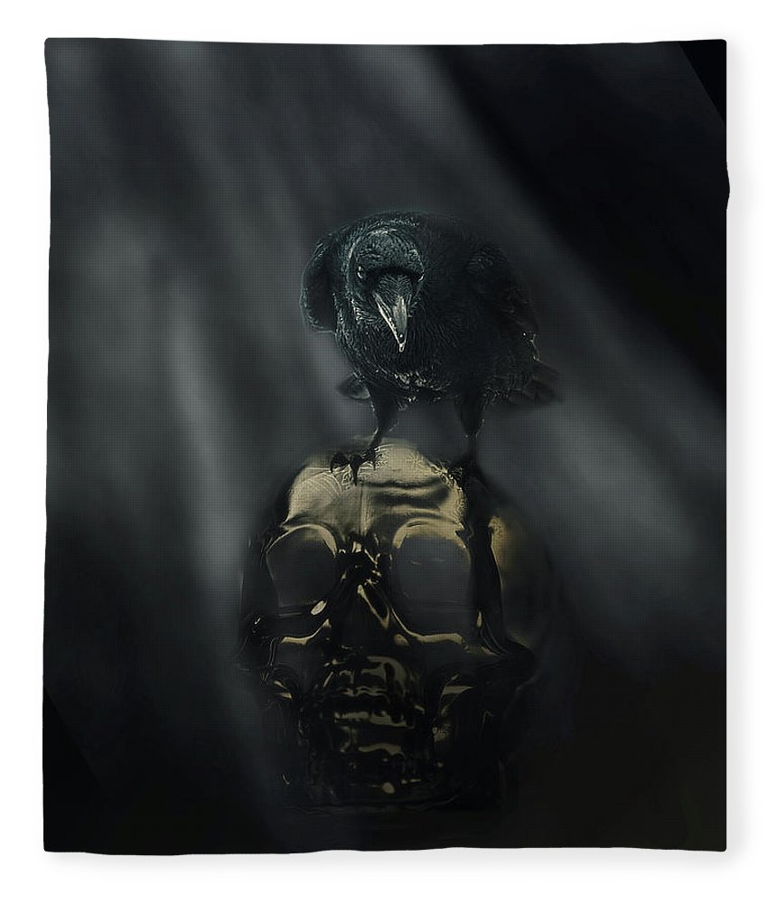 Raven Fleece Blanket featuring the digital art Deep Into That Darkness Peering by Susan Capuano