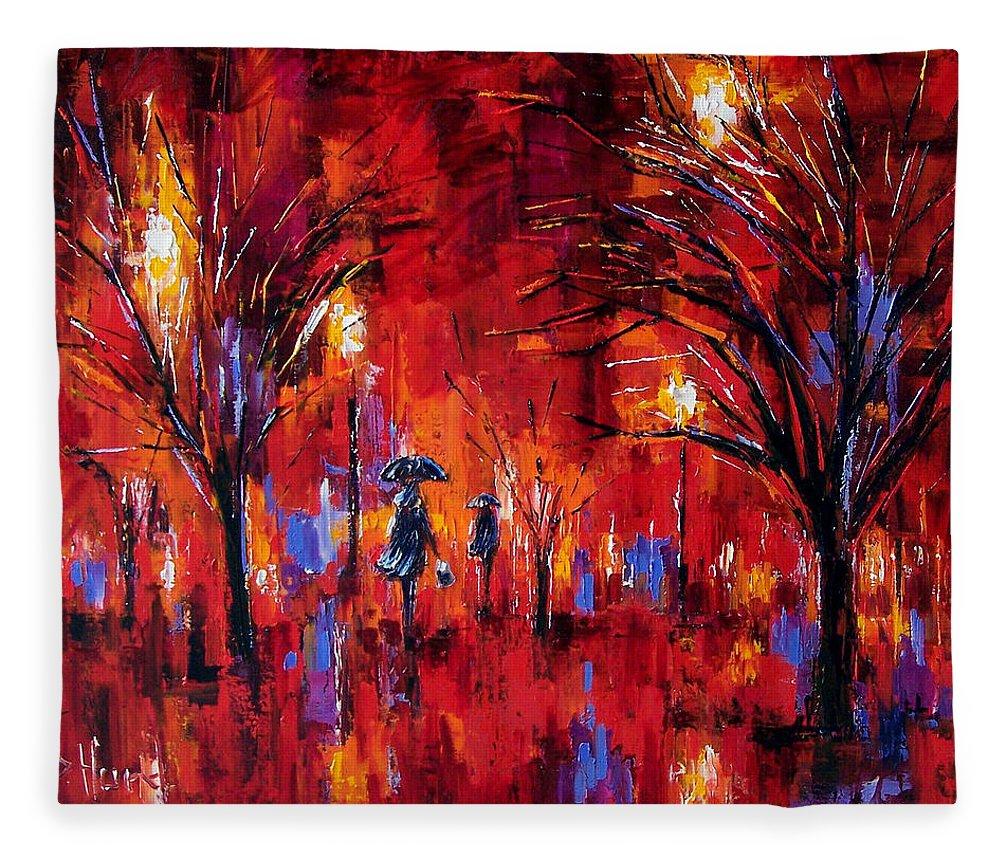 Umbrellas Fleece Blanket featuring the painting Deep Red by Debra Hurd
