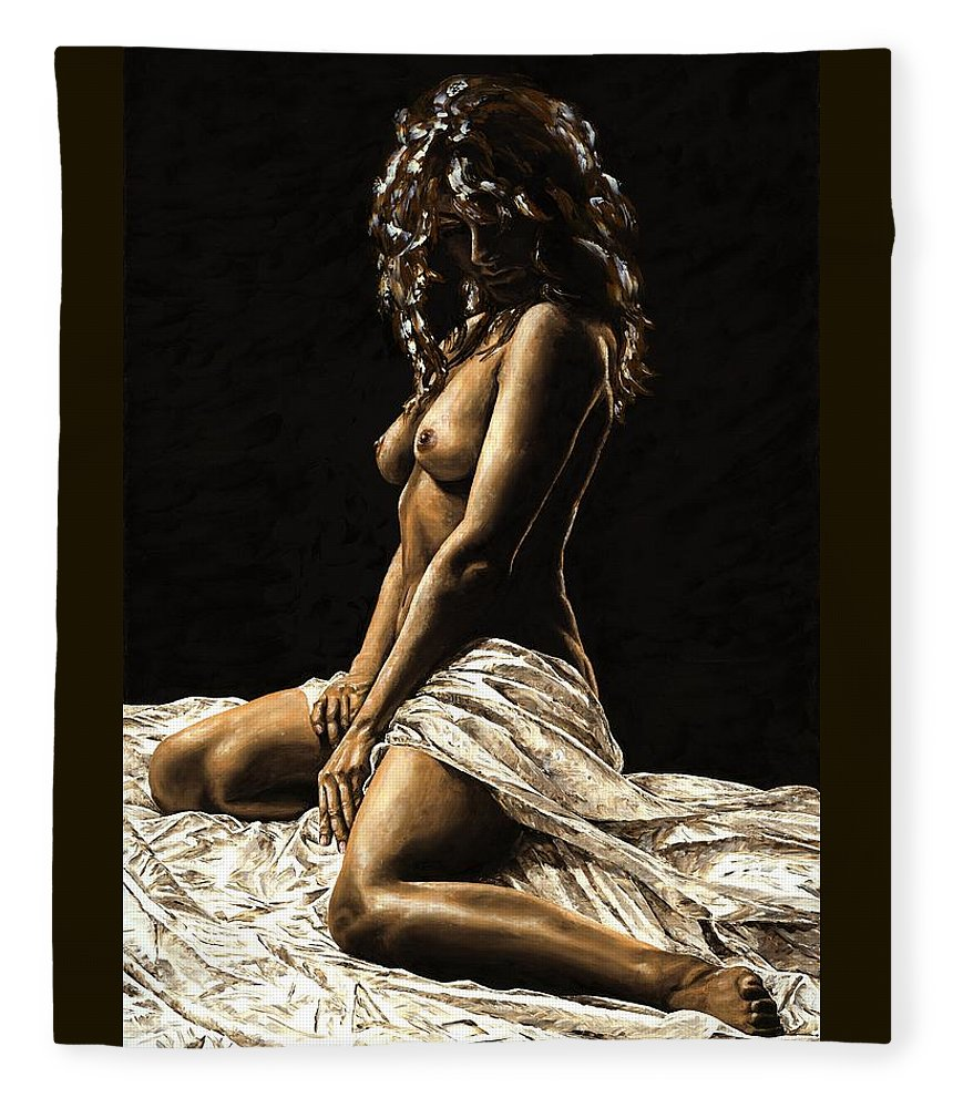Nude Fleece Blanket featuring the painting Defiance by Richard Young
