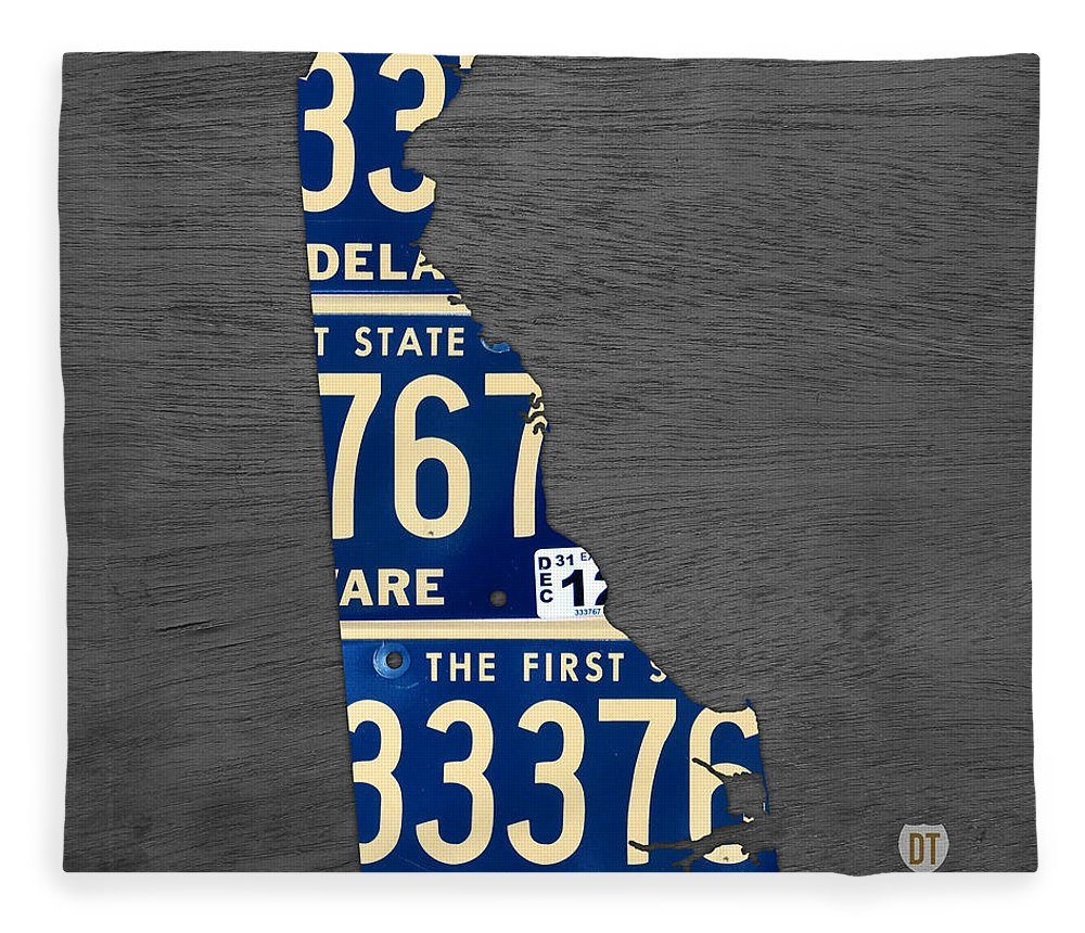 Delaware License Plate Map Recycled Vintage Car Tag State Shape Art ...