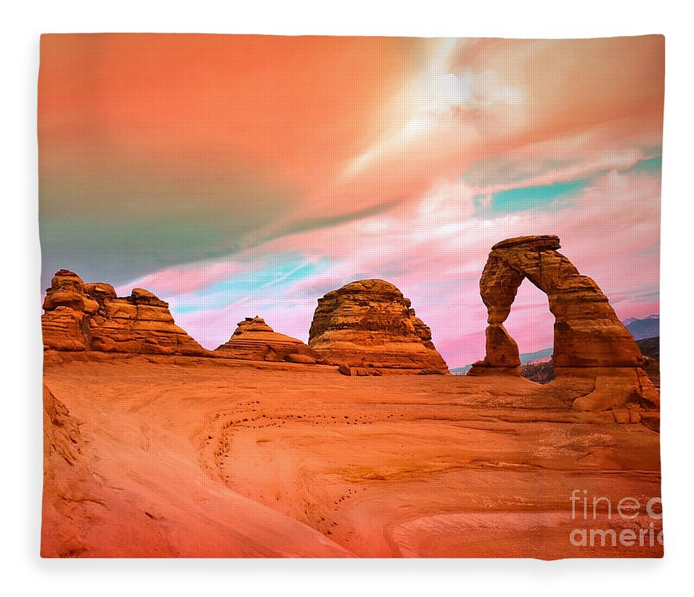 Delicate Arch Fleece Blanket featuring the photograph Delicate Arch by Tara Turner
