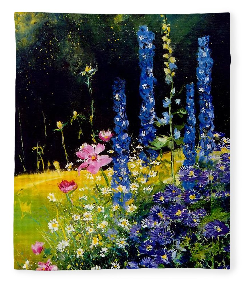 Poppies Fleece Blanket featuring the painting Delphiniums by Pol Ledent