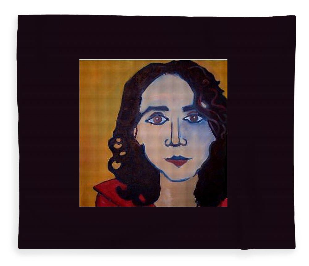 Greek Woman Fleece Blanket featuring the painting Denise Closeup by Debra Bretton Robinson