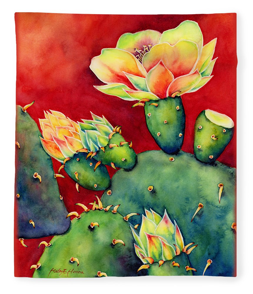 Cactus Fleece Blanket featuring the painting Desert Bloom by Hailey E Herrera
