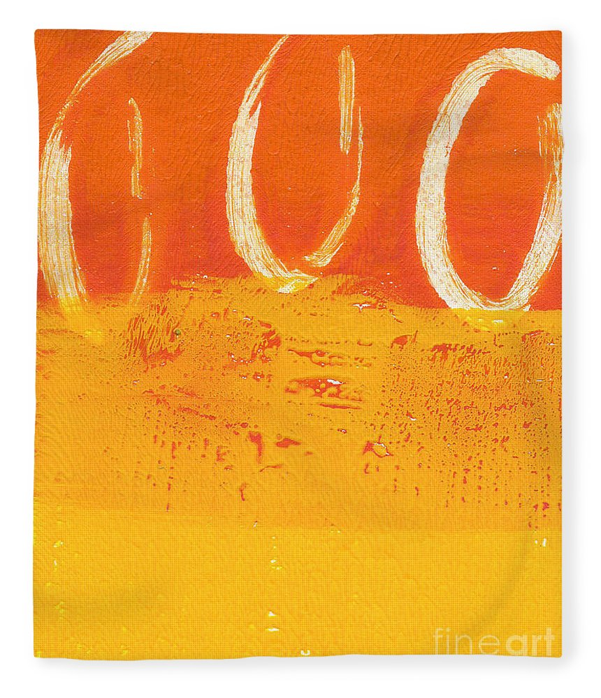Abstract Fleece Blanket featuring the painting Desert Sun by Linda Woods