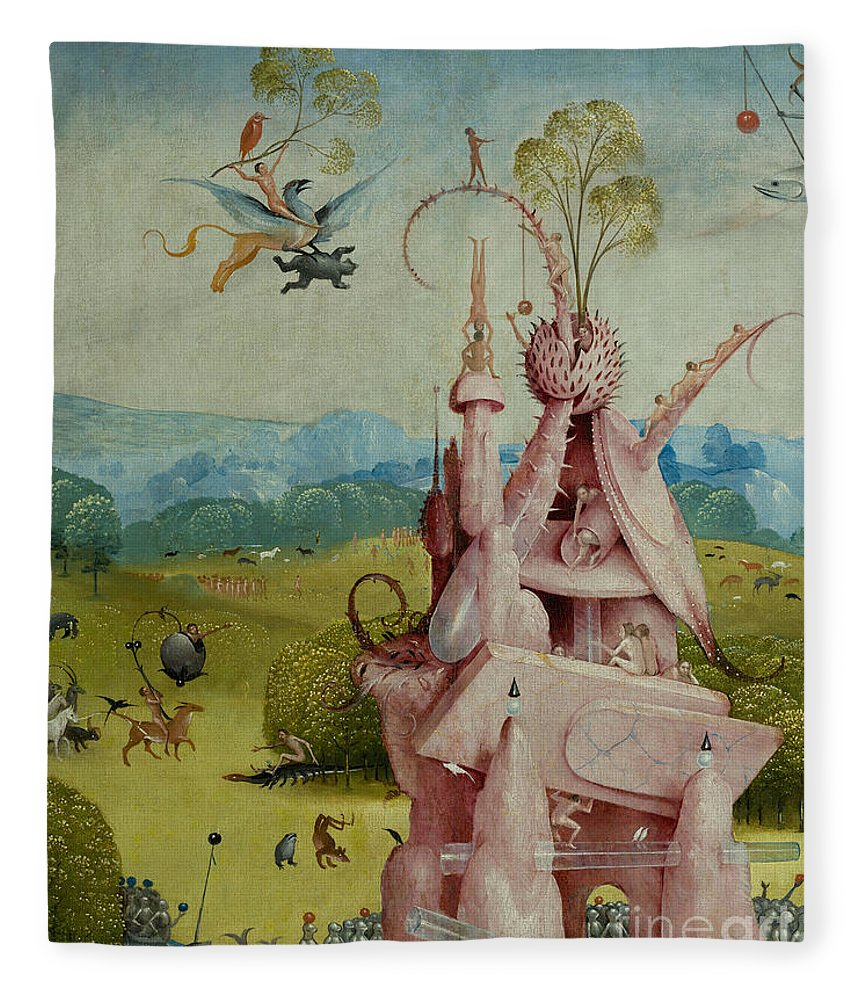 Central Panel Fleece Blanket featuring the painting Detail Of Central Panel The Garden Of Earthly Delights by Hieronymus Bosch